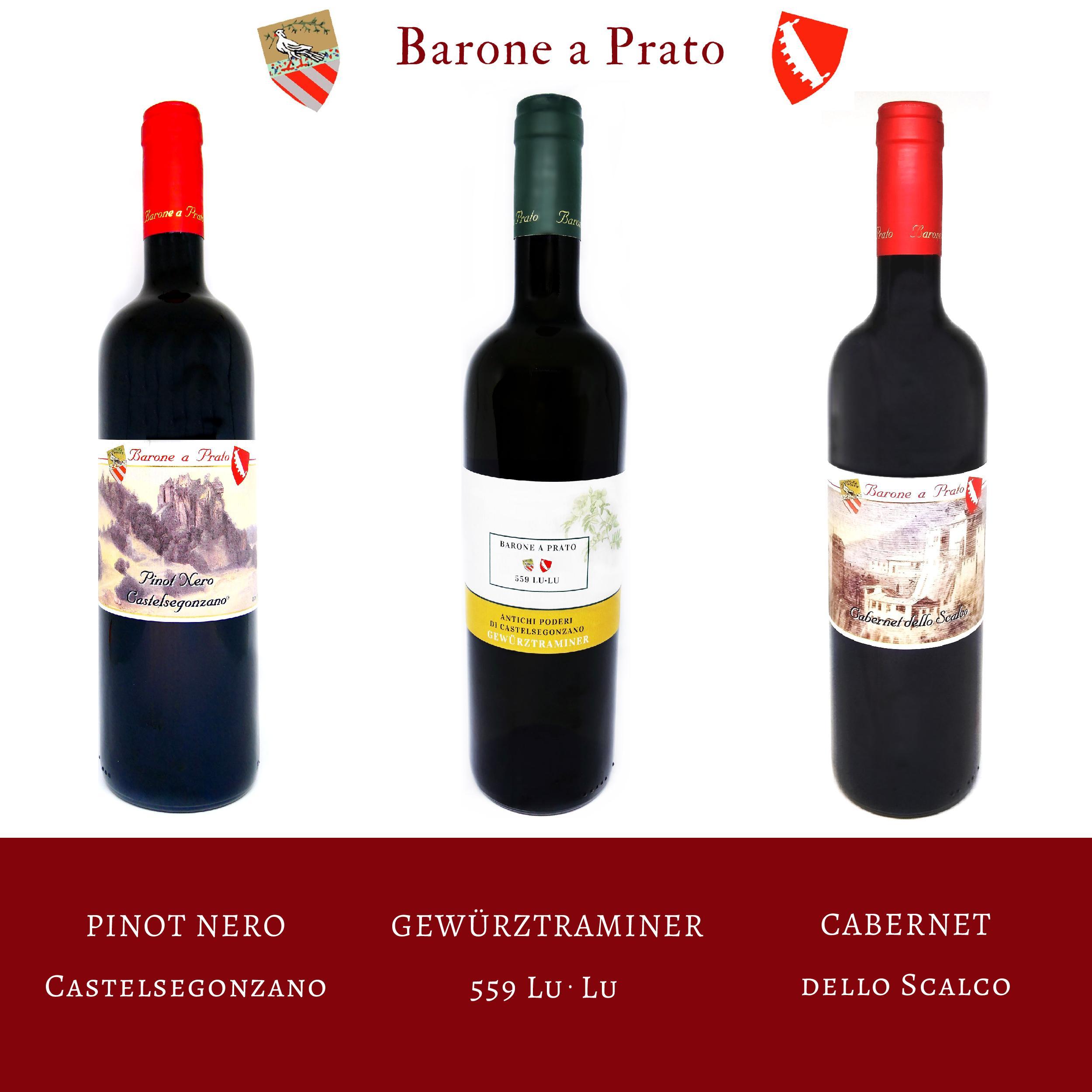 cantina Barone a Prato vini: Pinot Nero Castelsegonzano, Gewuerztrainer 559 LuLu, Cabernet dello Scalco
